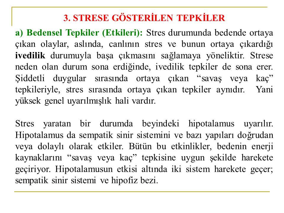 3. STRESE GÖSTERİLEN TEPKİLER