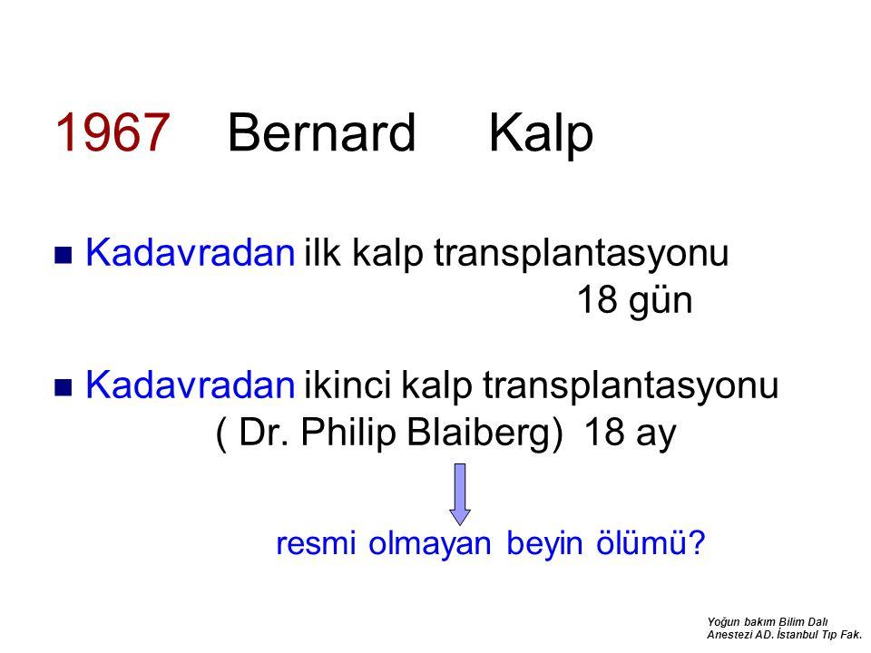1967 Bernard Kalp Kadavradan ilk kalp transplantasyonu 18 gün