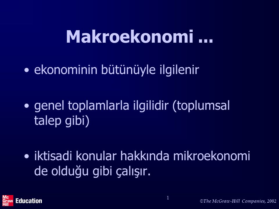 Makroekonomi deki bazı anahtar terimler