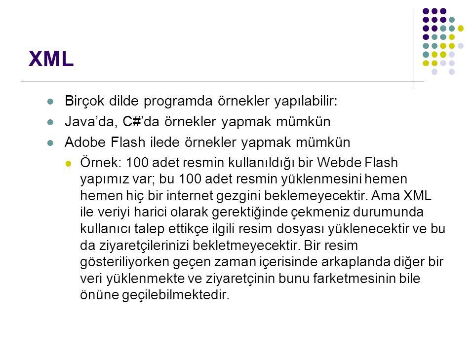 XML Birçok dilde programda örnekler yapılabilir: