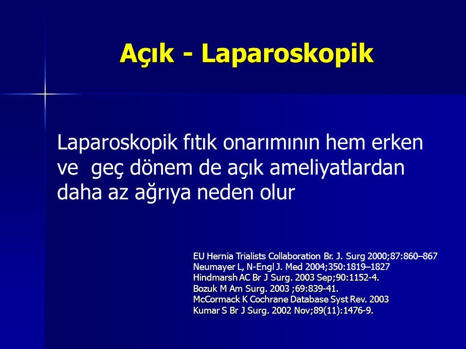 Açık - Laparoskopik Laparoskopik fıtık onarımının hem erken ve geç dönem de açık ameliyatlardan daha az ağrıya neden olur.
