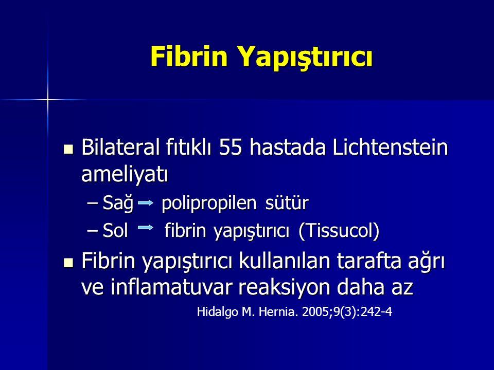 Fibrin Yapıştırıcı Bilateral fıtıklı 55 hastada Lichtenstein ameliyatı