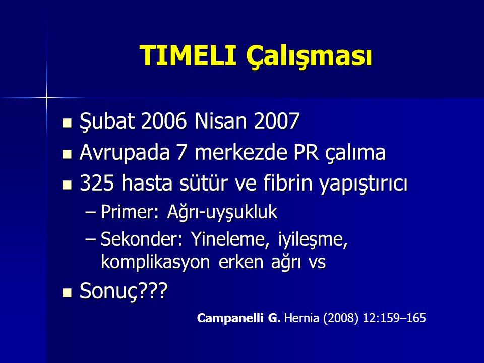 TIMELI Çalışması Şubat 2006 Nisan 2007 Avrupada 7 merkezde PR çalıma