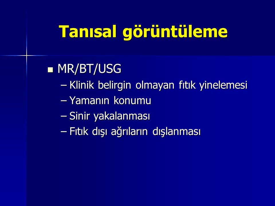 Tanısal görüntüleme MR/BT/USG Klinik belirgin olmayan fıtık yinelemesi