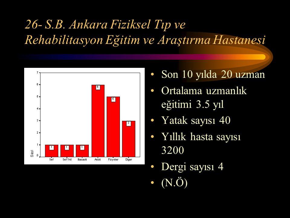 26- S.B. Ankara Fiziksel Tıp ve Rehabilitasyon Eğitim ve Araştırma Hastanesi