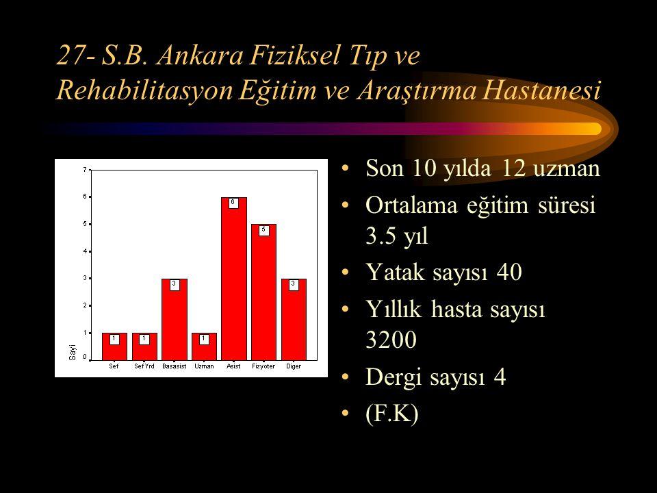 27- S.B. Ankara Fiziksel Tıp ve Rehabilitasyon Eğitim ve Araştırma Hastanesi