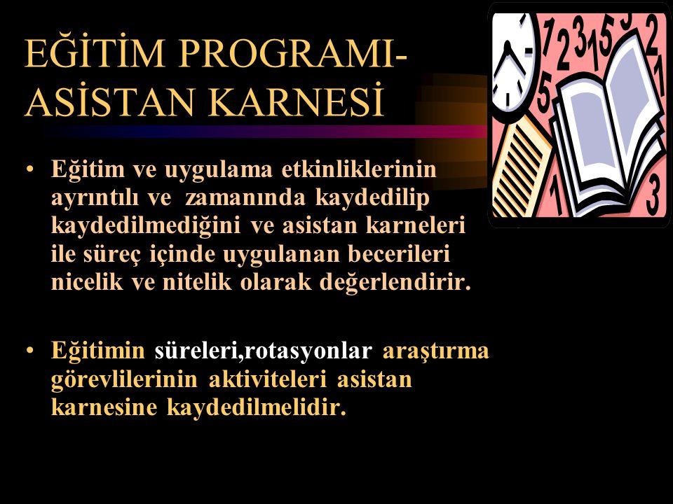 EĞİTİM PROGRAMI- ASİSTAN KARNESİ