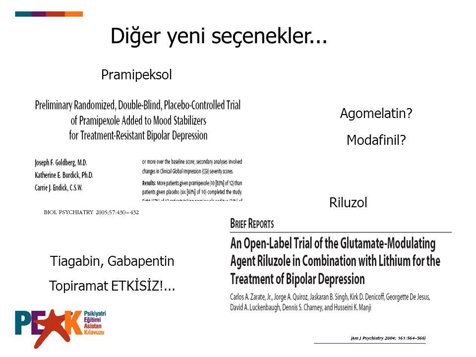 Diğer yeni seçenekler... Pramipeksol Agomelatin Modafinil Riluzol