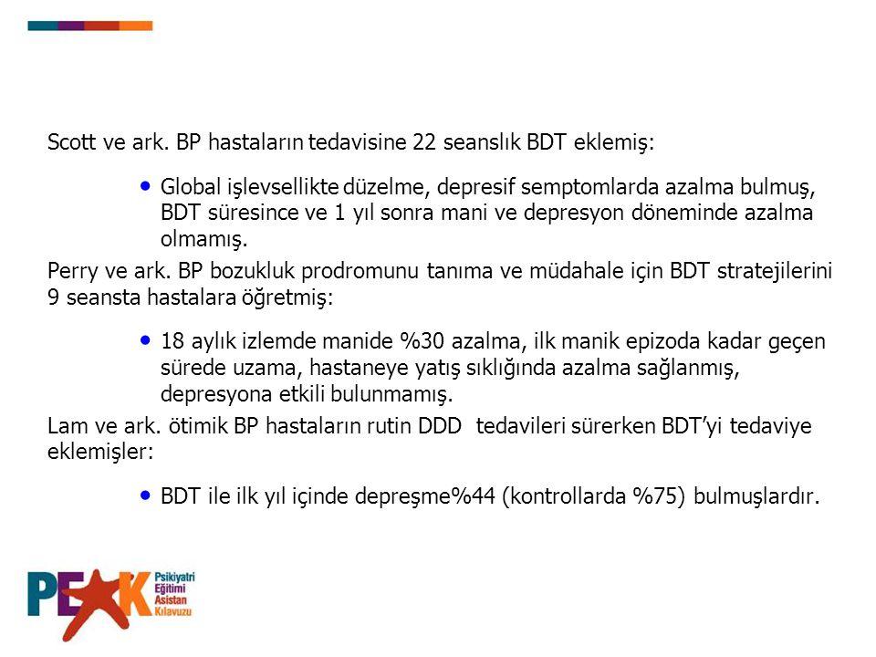 Scott ve ark. BP hastaların tedavisine 22 seanslık BDT eklemiş: