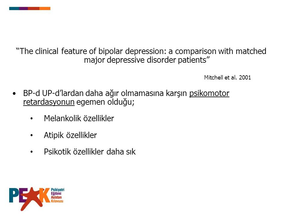 The clinical feature of bipolar depression: a comparison with matched major depressive disorder patients