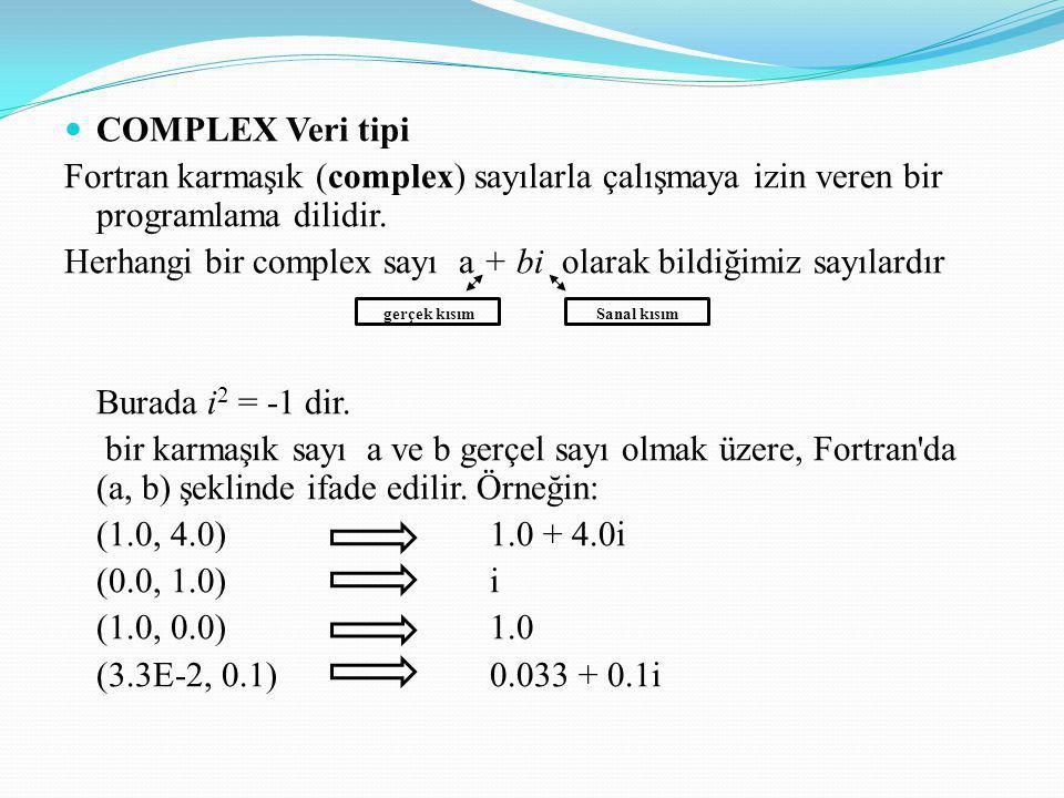 COMPLEX Veri tipi Fortran karmaşık (complex) sayılarla çalışmaya izin veren bir programlama dilidir.