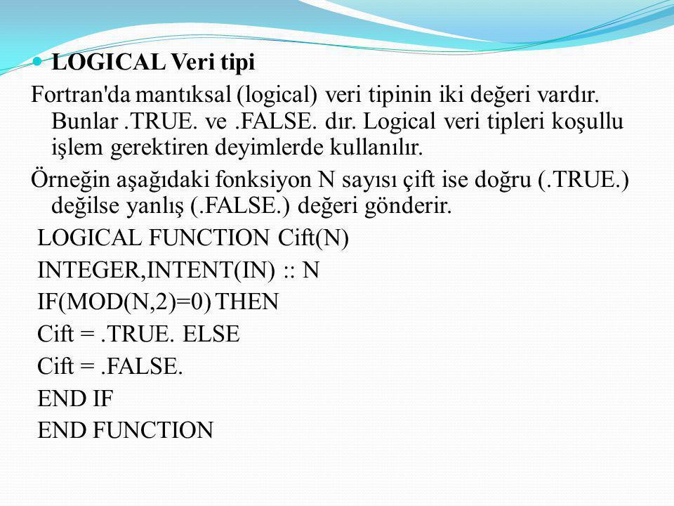 LOGICAL Veri tipi