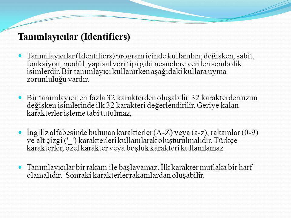 Tanımlayıcılar (Identifiers)