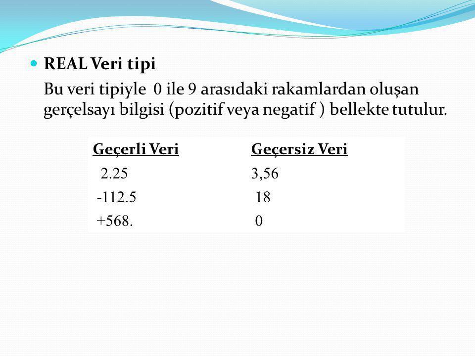 REAL Veri tipi Bu veri tipiyle 0 ile 9 arasıdaki rakamlardan oluşan gerçelsayı bilgisi (pozitif veya negatif ) bellekte tutulur.