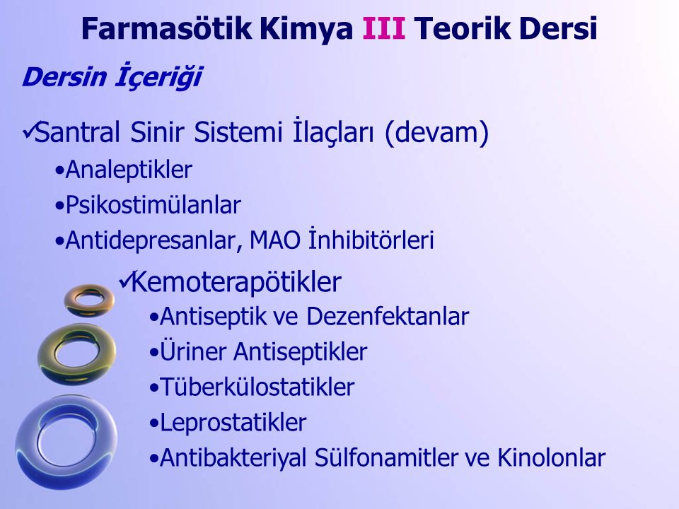 Farmasötik Kimya III Teorik Dersi