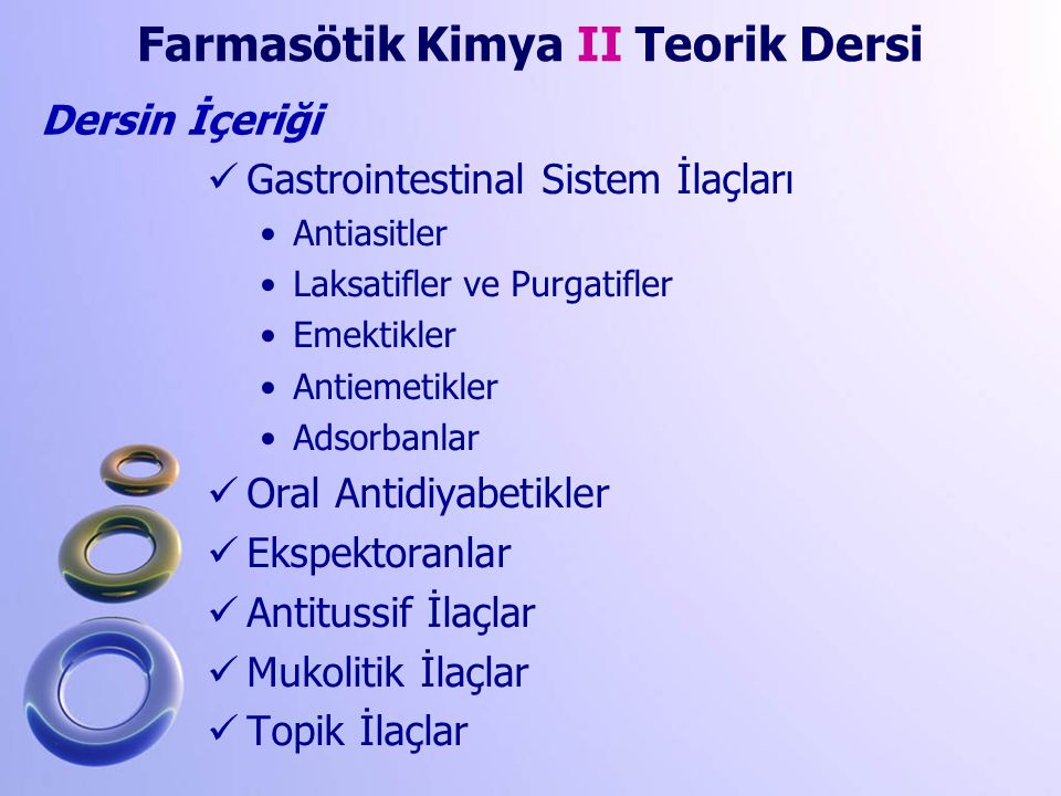 Farmasötik Kimya II Teorik Dersi