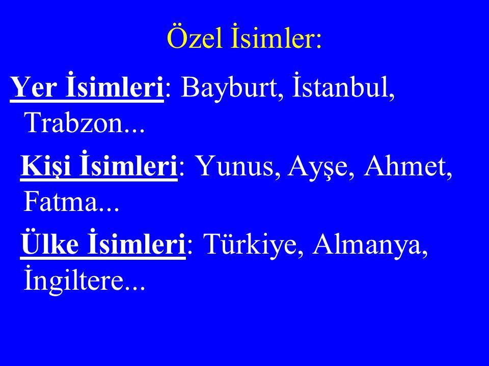 Kişi İsimleri: Yunus, Ayşe, Ahmet, Fatma...