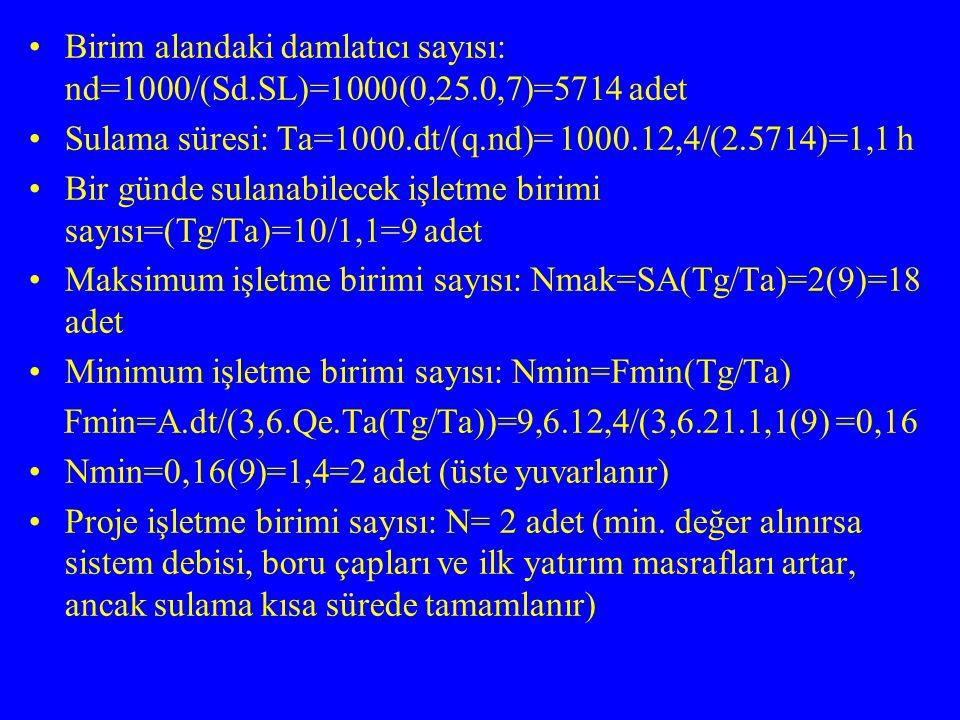 Birim alandaki damlatıcı sayısı: nd=1000/(Sd. SL)=1000(0,25