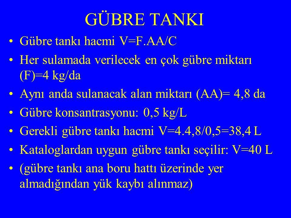 GÜBRE TANKI Gübre tankı hacmi V=F.AA/C