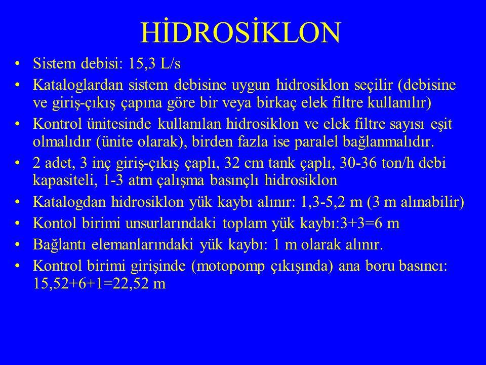 HİDROSİKLON Sistem debisi: 15,3 L/s