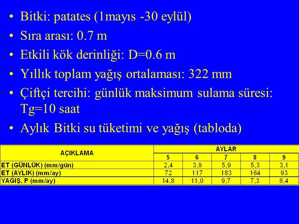 Bitki: patates (1mayıs -30 eylül)