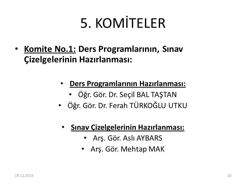 5. KOMİTELER Komite No.1: Ders Programlarının, Sınav Çizelgelerinin Hazırlanması: Ders Programlarının Hazırlanması: