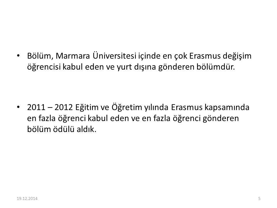 Bölüm, Marmara Üniversitesi içinde en çok Erasmus değişim öğrencisi kabul eden ve yurt dışına gönderen bölümdür.