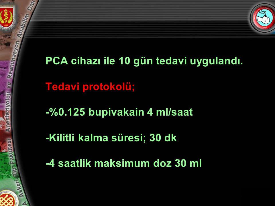 PCA cihazı ile 10 gün tedavi uygulandı.