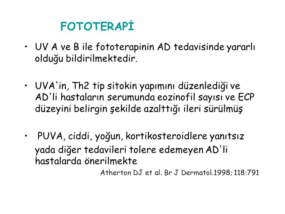 FOTOTERAPİ UV A ve B ile fototerapinin AD tedavisinde yararlı olduğu bildirilmektedir.
