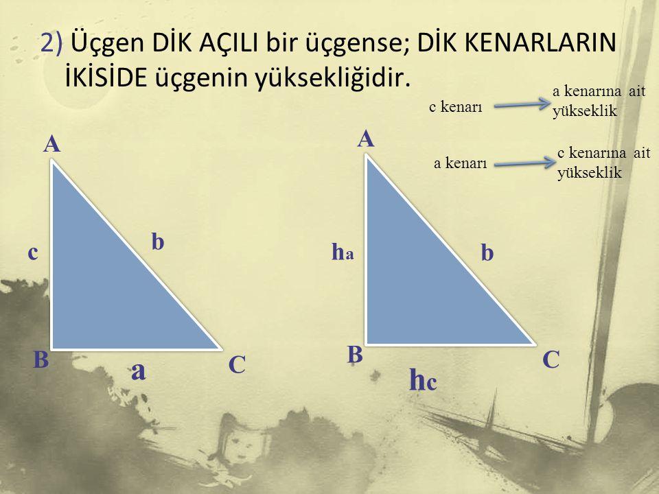 2) Üçgen DİK AÇILI bir üçgense; DİK KENARLARIN İKİSİDE üçgenin yüksekliğidir.