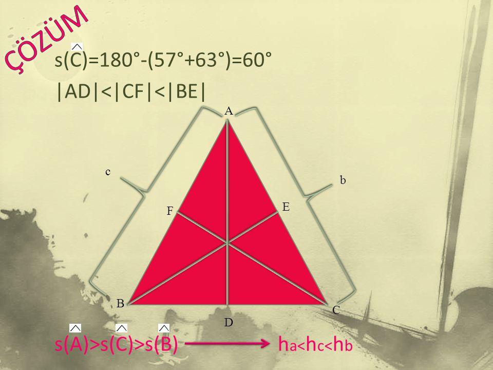 ÇÖZÜM s(C)=180°-(57°+63°)=60° |AD|<|CF|<|BE| s(A)>s(C)>s(B) ha<hc<hb A c b E F B C D