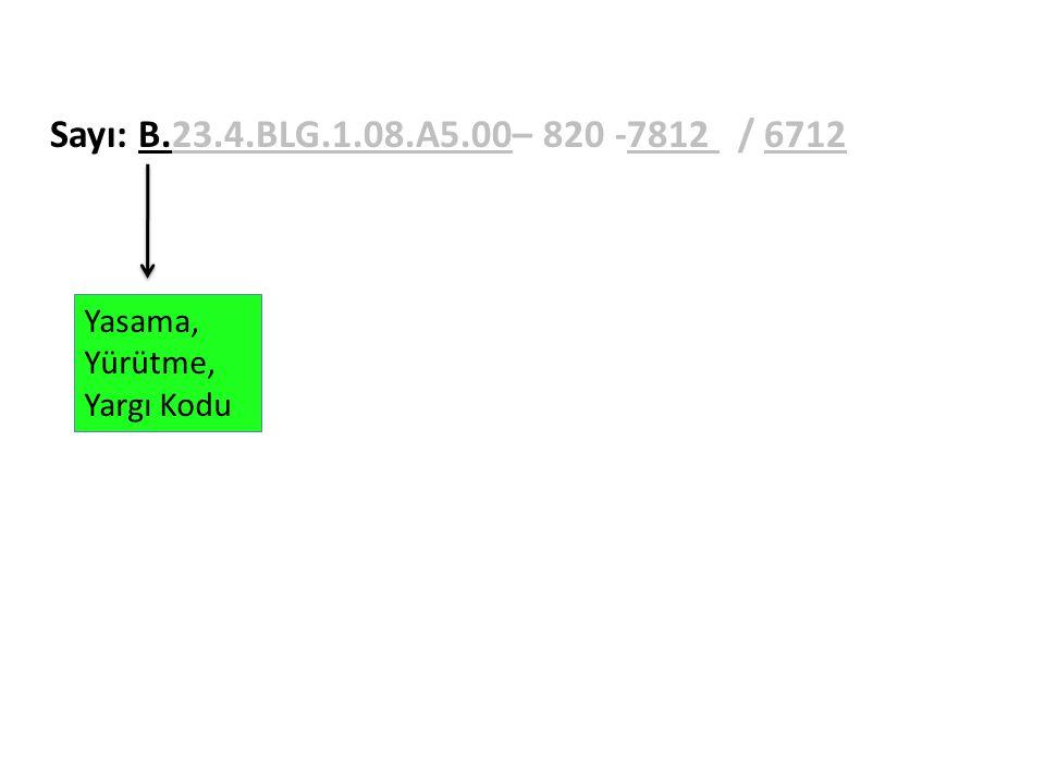 Sayı: B.23.4.BLG.1.08.A5.00– 820 -7812 / 6712 Yasama, Yürütme,