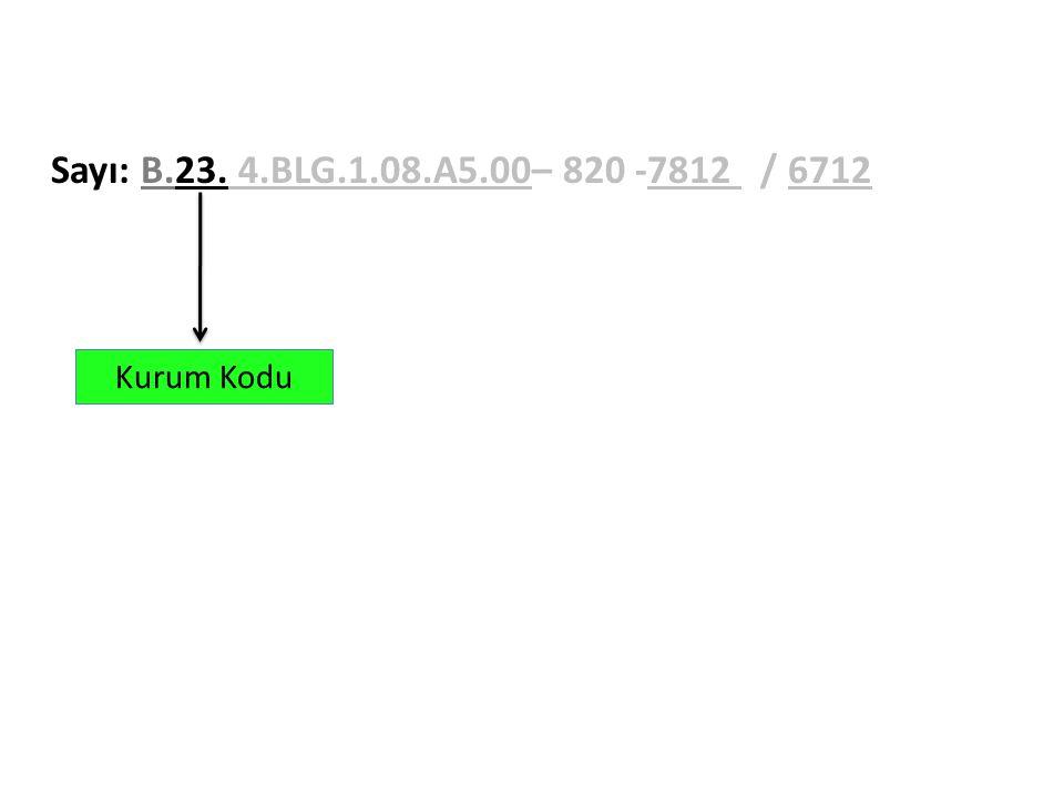 Sayı: B.23. 4.BLG.1.08.A5.00– 820 -7812 / 6712 Kurum Kodu