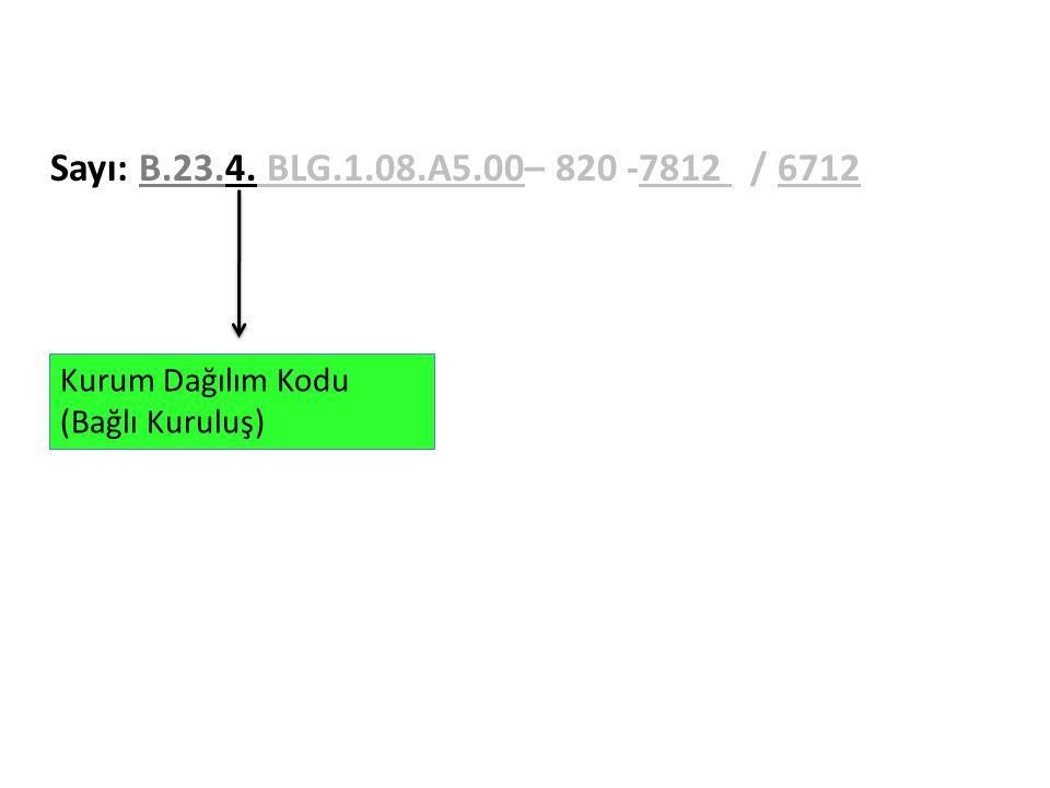 Sayı: B.23.4. BLG.1.08.A5.00– 820 -7812 / 6712 Kurum Dağılım Kodu