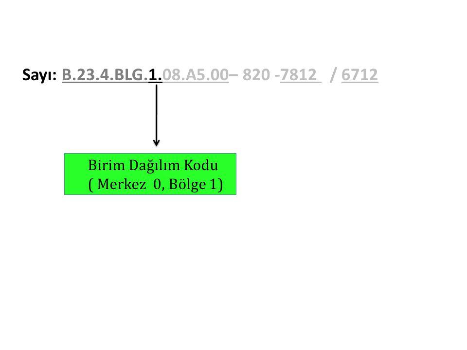 Sayı: B.23.4.BLG.1.08.A5.00– 820 -7812 / 6712 Birim Dağılım Kodu