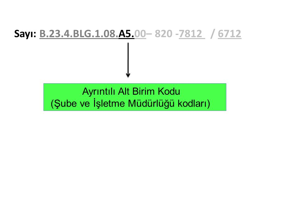 Sayı: B.23.4.BLG.1.08.A5.00– 820 -7812 / 6712 Ayrıntılı Alt Birim Kodu