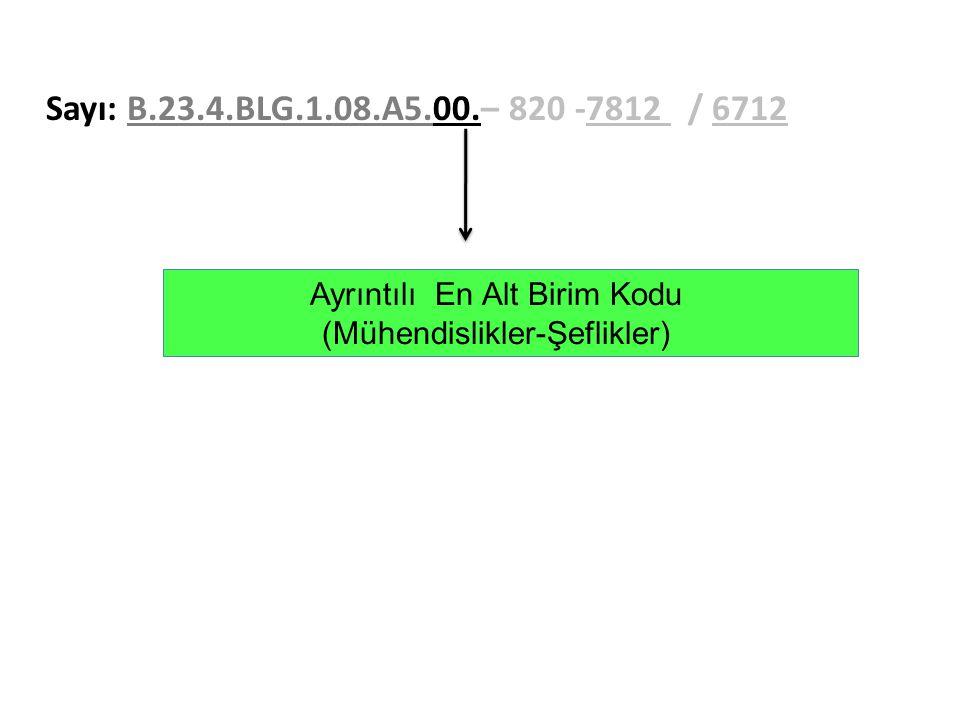 Sayı: B.23.4.BLG.1.08.A5.00.– 820 -7812 / 6712 Ayrıntılı En Alt Birim Kodu.