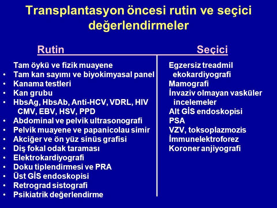 Transplantasyon öncesi rutin ve seçici değerlendirmeler