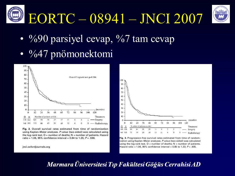EORTC – 08941 – JNCI 2007 %90 parsiyel cevap, %7 tam cevap