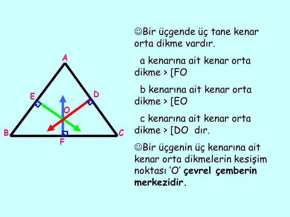 Bir üçgende üç tane kenar orta dikme vardır.