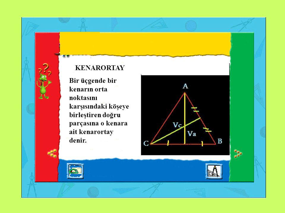 KENARORTAY Bir üçgende bir kenarın orta noktasını karşısındaki köşeye birleştiren doğru parçasına o kenara ait kenarortay denir.