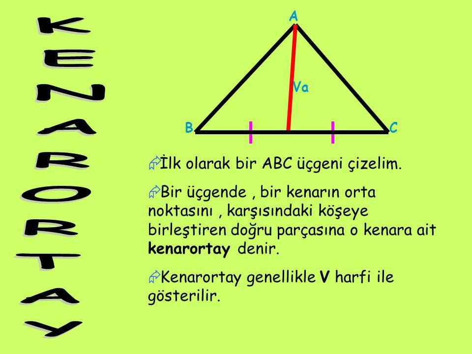 A Va. B. C. KENARORTAY. İlk olarak bir ABC üçgeni çizelim.