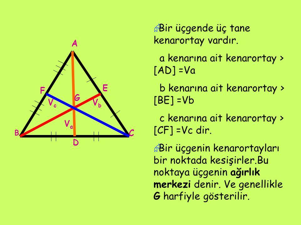 Bir üçgende üç tane kenarortay vardır.