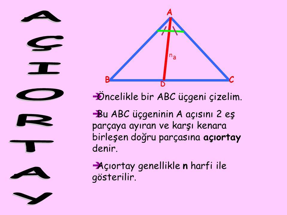 AÇIORTAY Öncelikle bir ABC üçgeni çizelim.
