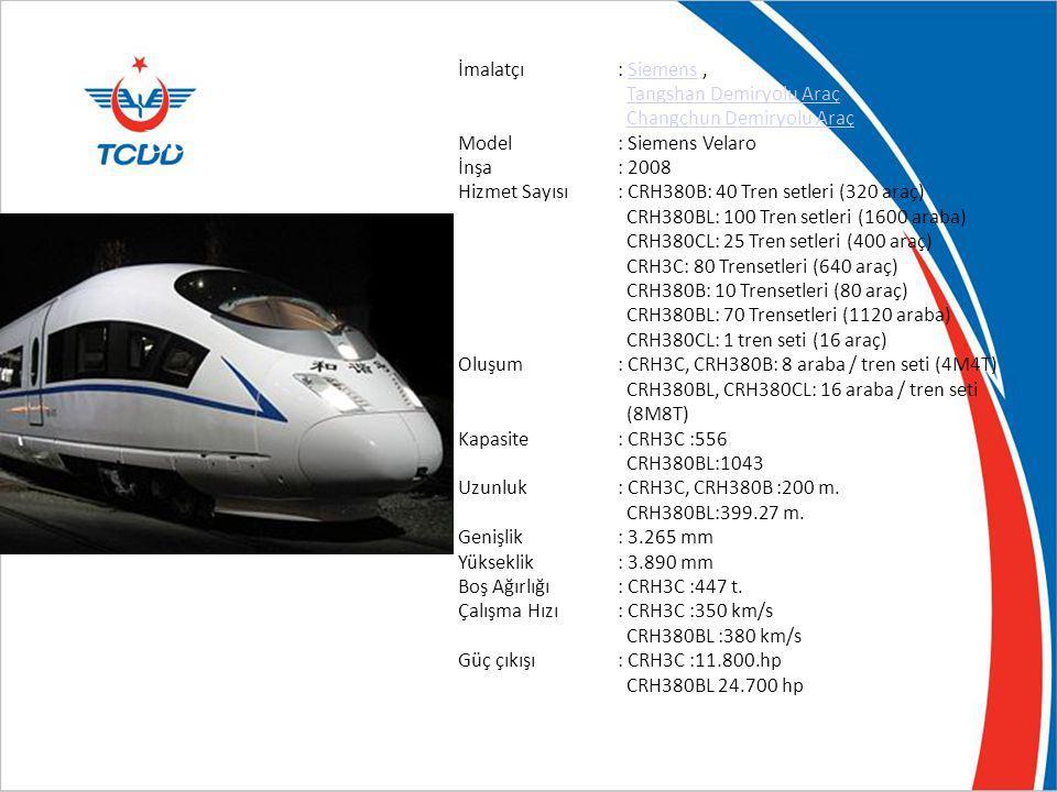 Çin Demiryolları CRH3C İmalatçı : Siemens , Tangshan Demiryolu Araç