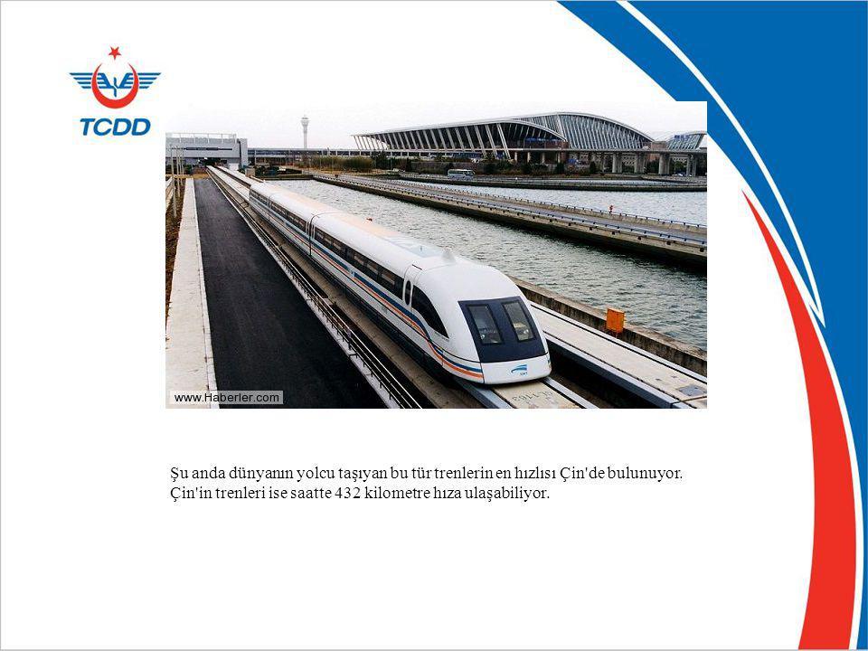 Şu anda dünyanın yolcu taşıyan bu tür trenlerin en hızlısı Çin de bulunuyor.