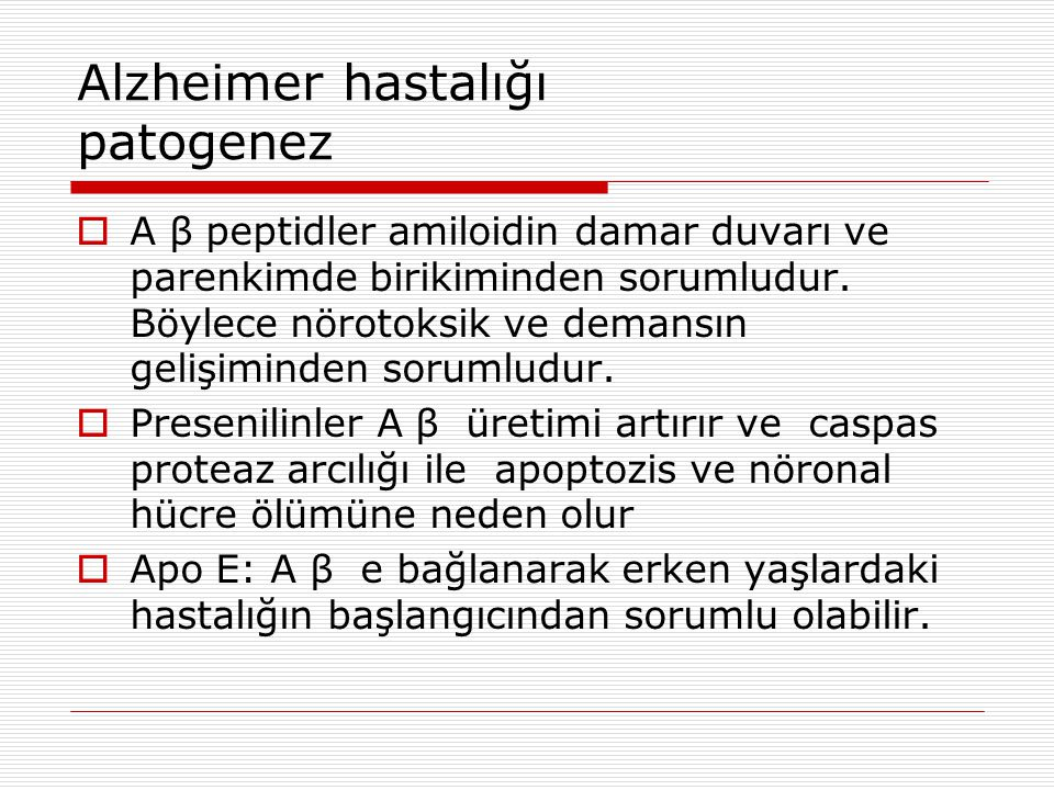 Alzheimer hastalığı patogenez