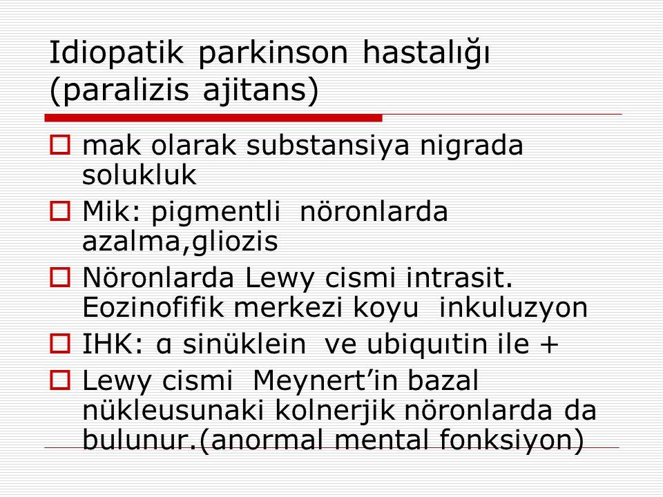 Idiopatik parkinson hastalığı (paralizis ajitans)