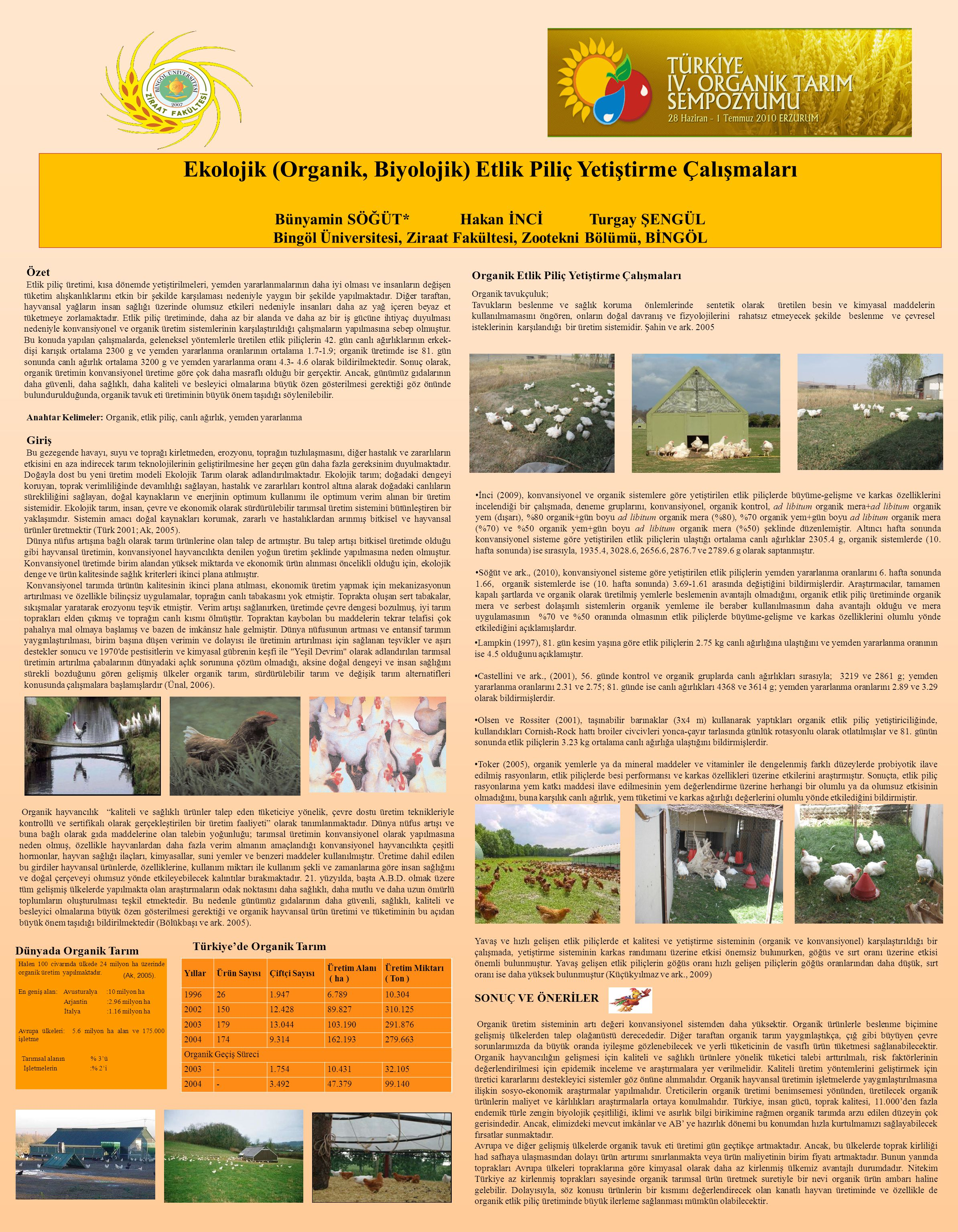 Ekolojik (Organik, Biyolojik) Etlik Piliç Yetiştirme Çalışmaları