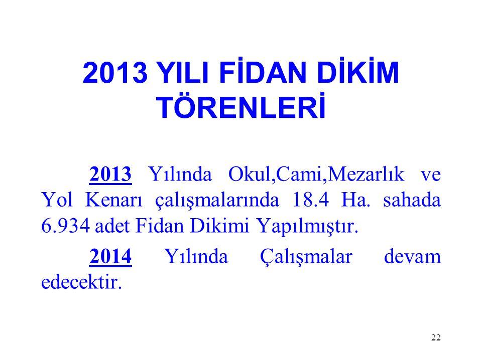 2013 YILI FİDAN DİKİM TÖRENLERİ